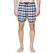 F&F Checked Short Length Swim Shorts - Blue
