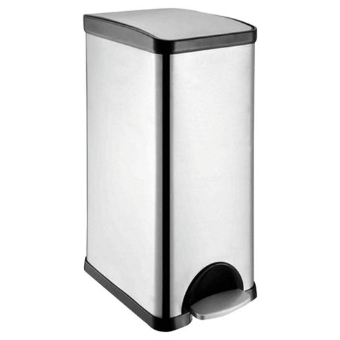 Tesco 30L Stainless Steel Rectangular Pedal Kitchen Bin With Black Soft-Closing Lid