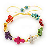 Unisex Multicoloured Plastic 'Cross' Friednship Bracelet On Silk String - Adjustable