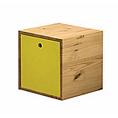 The Cube a multi-purpose storage unit in Antique and Lime