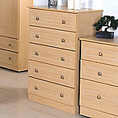 Welcome Furniture Corrib 5 Drawer Chest - Light Oak