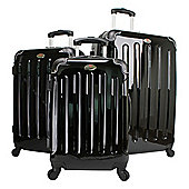 Swiss Case 4 Wheel Hard 3Pc Suitcase Set Black