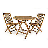 Witham 2 Seater Folding Round Teak Set - Outdoor/Garden table and Chair set.