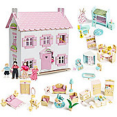Le Toy Van Sophie's House Dolls House, Sweetbee Furniture and Dolls