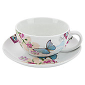 Accessorize With Love 0.32L Porcelain Cappuccino Cup and Saucer in Butterfly with Floral (Set of 4)