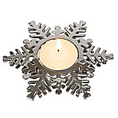 Silver Snowflake Christmas Tea Light Holder