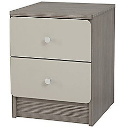 Smooth - Bedside Table / Storage Chest With 2 Drawers - Avola / Stone Grey