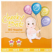 Tesco Cheeky Bots Midi Size 3, 180 Nappies
