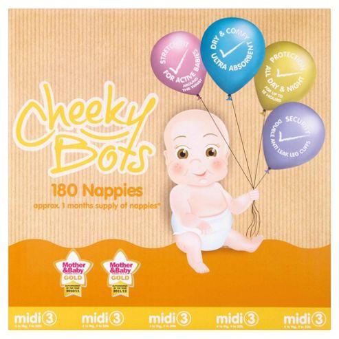 Tesco Cheeky Bots Midi Size 3, 180 Nappies