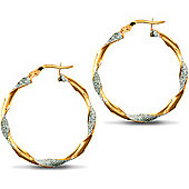 Jewelco London 9ct Yellow and White Gold Plain / Frost Hoop Earring