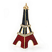 Dark Blue, Red Crystal 'Eiffel Tower' Brooch In Gold Plating - 60mm Length