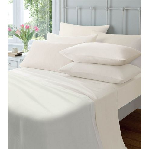 Catherine Lansfield Home Platinum 190gsm Brushed Flannelette King Size Bed Flat Sheet Cream