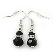 Small Black Glass Bead Drop Earrings In Silver Plating - 3.5cm Length