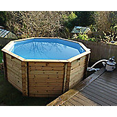 "Plastica Octagonal Wooden Fun Pool 10ft x 48"" With Sand Filter"