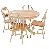 Origin Red York Round Dining Table Set - Natural / Ivory