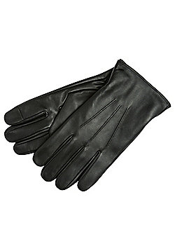 F&F Touchscreen Fleece Lined Leather Gloves - Black