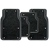 4 piece Rubber/Carpet Mat Set - Heavy Duty Black with Lift Out Carpet
