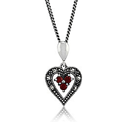 "Gemondo Sterling Silver 0.12ct Garnet & Marcasite Heart 45"" Necklace"