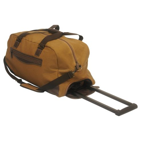 Tesco 2-Wheel Canvas Holdall, Khaki