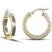 Jewelco London 9ct White gold polished square-tube flat hoop with frosted Yellow gold Greek Key design pattern