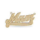 Jewelco London 9ct Solid Gold Mum nameplate Pendant with hooks to attach a pendant Chain
