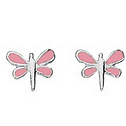 Pink Dragonfly Stud Earrings