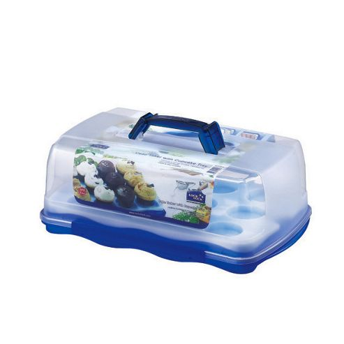 Lock & Lock 10 litre Rectangular Cake Box with Cup-Cake Tray and Carry Handle