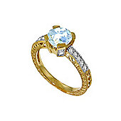 QP Jewellers Diamond & Aquamarine Fantasy Ring in 14K Gold