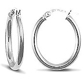 Jewelco London 9ct White Gold Polished Oval shaped hoop Earrings