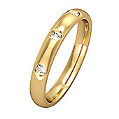 18ct Yellow Gold - 75pts Diamond - 3mm Court Wedding Ring