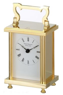 David Peterson Ltd Quartz Heavy Flat Brass Carriage Clock in Gold