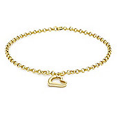 9ct Yellow Gold Heart Drop Bracelet 18cm/7""
