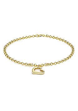 "9ct Yellow Gold Heart Drop Bracelet 18cm/7"""