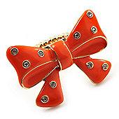 Large Bright Orange Enamel Crystal Bow Stretch Ring (Size 7-9)