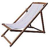 Wooden Deckchair, Bright Stripes