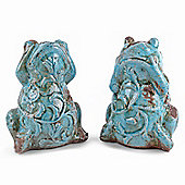 Pair of Decorative Weathered Effect Terracotta Frog Ornaments for the Home
