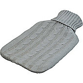 Harbour Housewares Full Size Hot Water Bottle With Knitted Cover - Grey