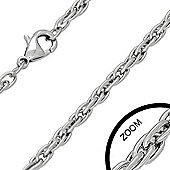Urban Male Stainless Steel 4mm Twisted Rope Chain 20in Long