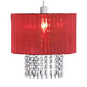 Oba Red Ceiling Light Shade with Acrylic Crystal Droplets