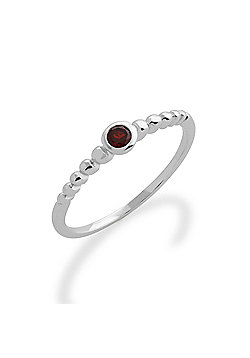 Gemondo Garnet Ring, 925 Sterling Silver 0.12ct Garnet Stackable Birthstone Ring