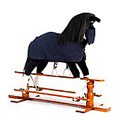 Rocking Horse Shadow With Blue Rug and Nose Bag