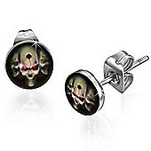 Urban Male Evil Skull Design Stud Earrings Stainless Steel 7mm