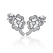 The REAL Effect Rhodium Coated Sterling Silver Cubic Zirconia Clover Stud Earrings