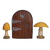 Fairy Garden Starter Kit Set with Pair of Yellow Mushrooms & Fairy Door