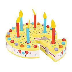 Bigjigs Toys BJ448 Wooden Play Food Birthday Cake