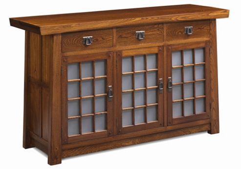 Shimu Asian Contemporary Glass Paneled Sideboard