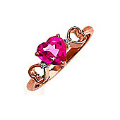 QP Jewellers Diamond & Pink Topaz Trinity Heart Ring in 14K Rose Gold