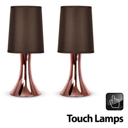 Pair Of Trumpet Touch Table Lamps In Copper With Brown Shades