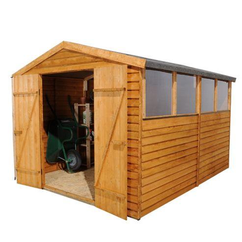 Buy select overlap apex wooden garden shed double door for Garden shed tesco