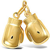Jewelco London 9ct Yellow Gold Pair of Boxing Gloves Charm